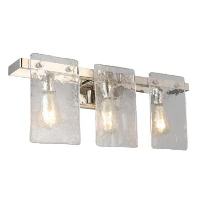 Wolter 3-Light Polished Nickel Vanity Light with Clear Sculpted Glass Shades