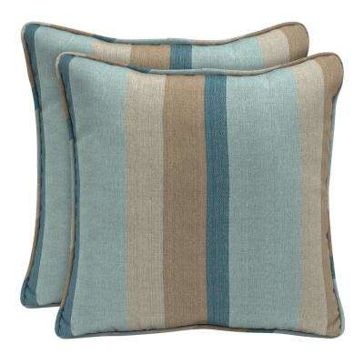 Sunbrella Gateway Mist Square Outdoor Throw Pillow (2 Pack)