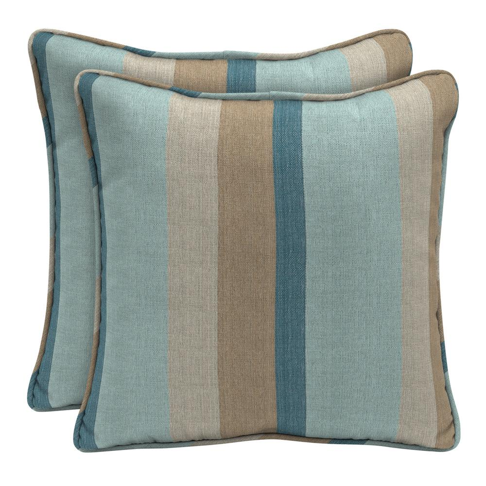 Home Decorators Collection Sunbrella Gateway Mist Square Outdoor Throw Pillow (2-Pack)