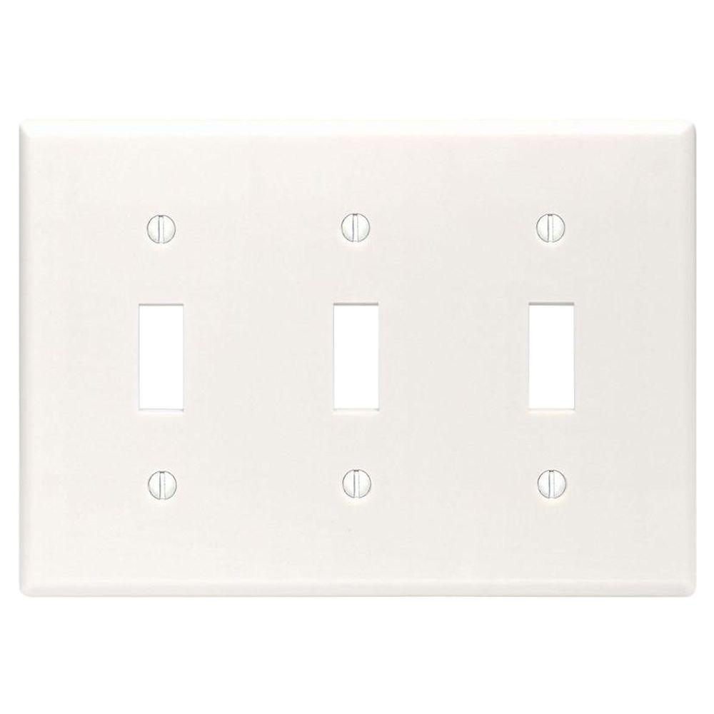Leviton White 3 Gang Toggle Wall Plate 1 Pack R52 88011 00w The Home Depot