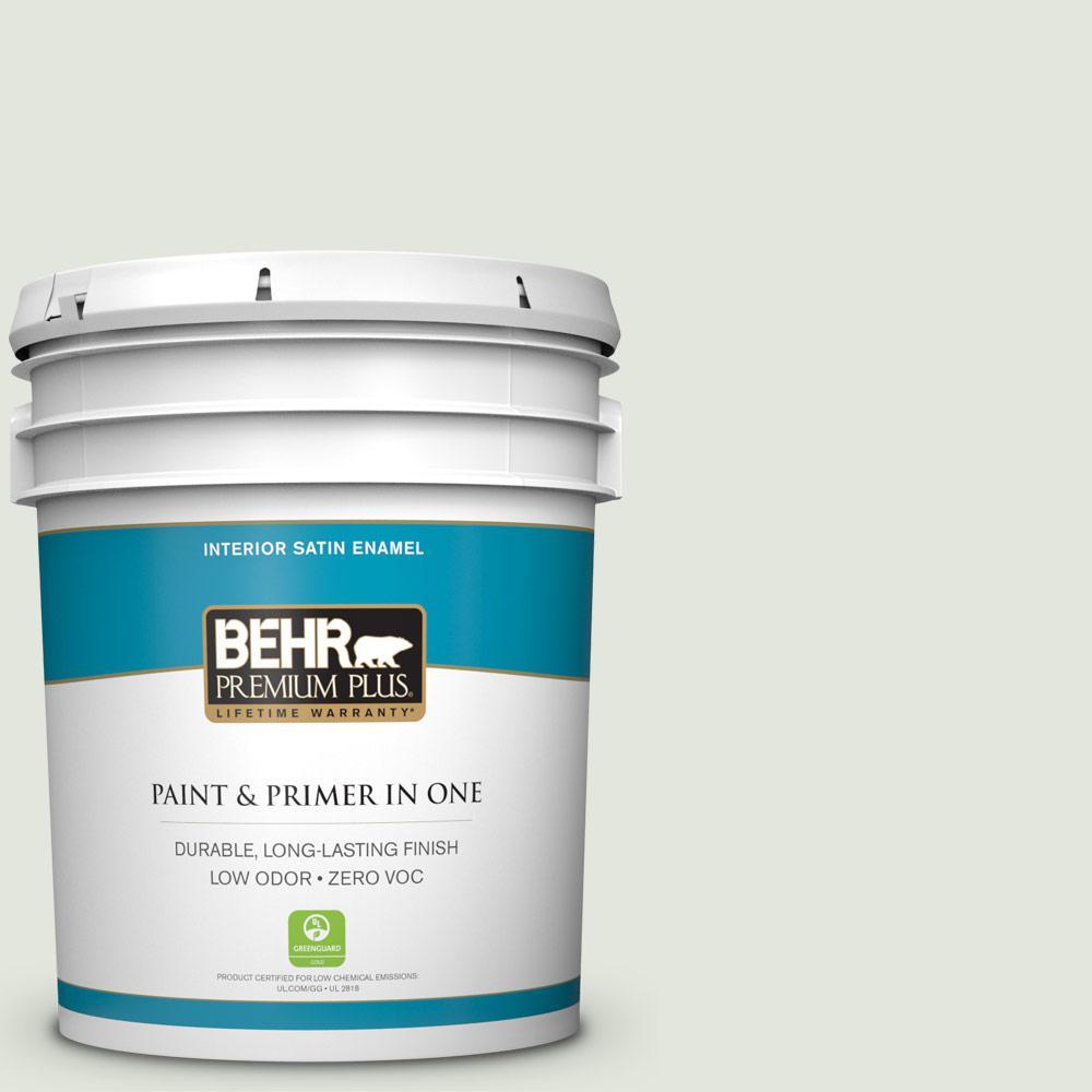 BEHR Premium Plus 5-gal. #BL-W6 Whispering Waterfall Satin Enamel Interior Paint