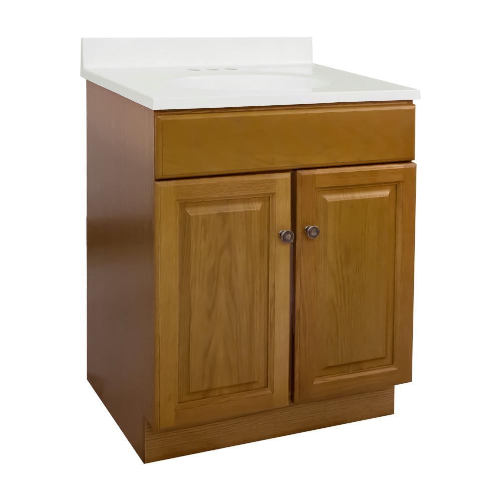 24 in. x 18 in. x 31.5 in. 2-Door Bath Vanity in Honey Oak with 4 in. Centerset White on White CM Vanity Top and Basin