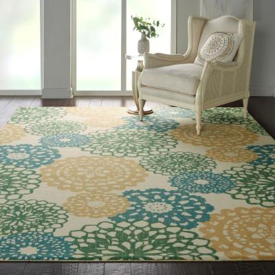 Sun N Shade Ivory/Gold 10 ft. x 13 ft. Floral Contemporary Area Rug