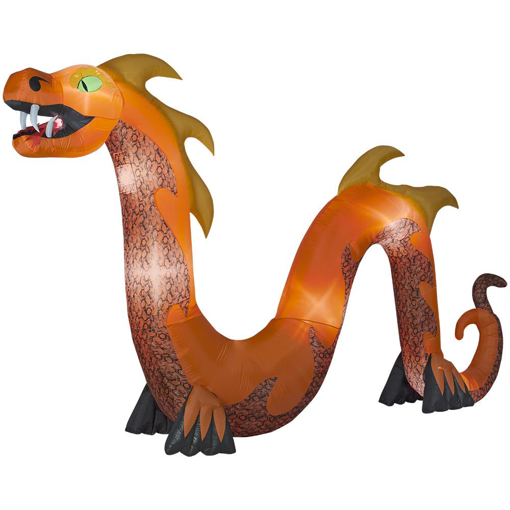 16 ft. Colossal Orange Serpent with Flaming Mouth Inflatable