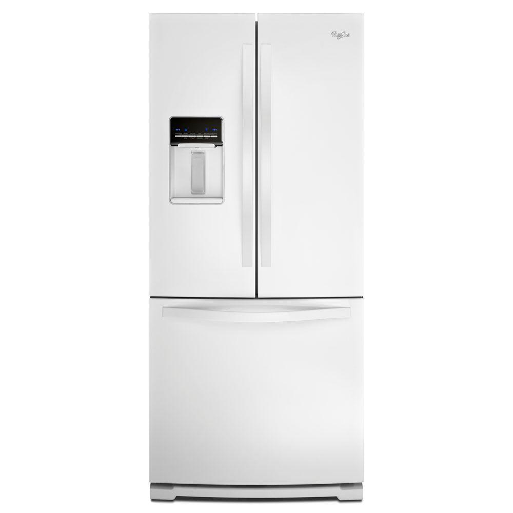 Kitchenaid 30 19 7 Cu Ft French Door Refrigerator With: Whirlpool 30 In. W 19.7 Cu. Ft. French Door Refrigerator In White-WRF560SEYW