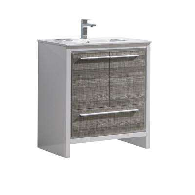 Allier Rio 30 in. Modern Bathroom Vanity in Ash Gray with Ceramic Vanity Top in White