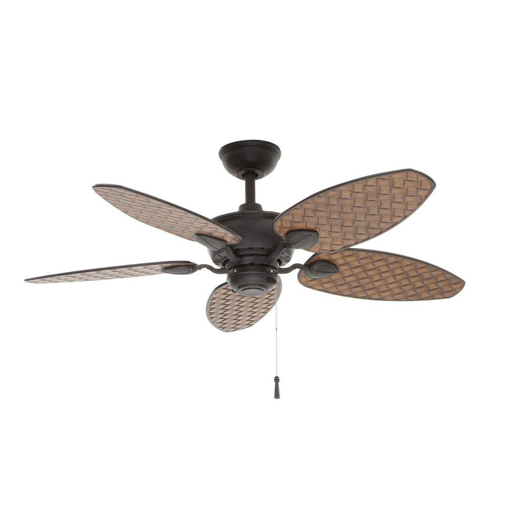 Delicieux Indoor/Outdoor Gilded Iron Ceiling Fan