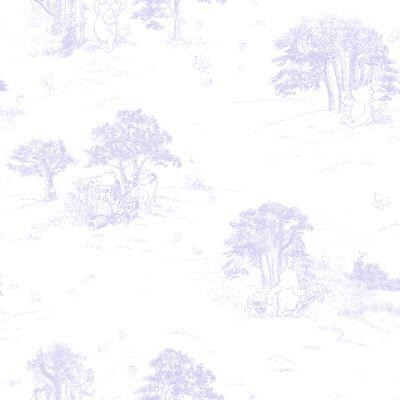 Disney 56 sq.ft. Purple Pastel Classic Pooh Toile Wallpaper-DISCONTINUED