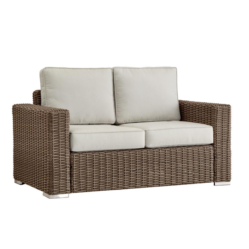 Camari Mocha Square Arm Wicker Outdoor Loveseat with Beige Cushion