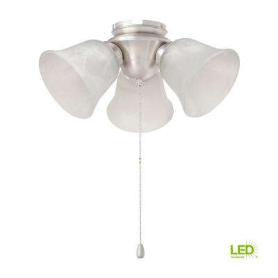 3-Light Brushed Nickel Alabaster Glass LED Ceiling Fan Light Kit