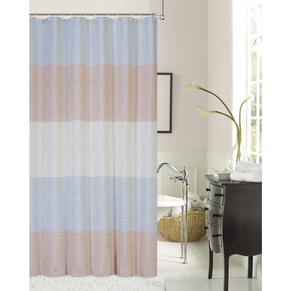 Ocean Wave 72 in. Ivory Aqua Blush Shrink Yarn Fabric Shower Curtain
