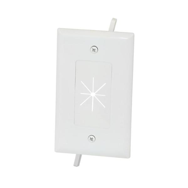 1-Gang Flexible Opening Cable Wall Plate, White