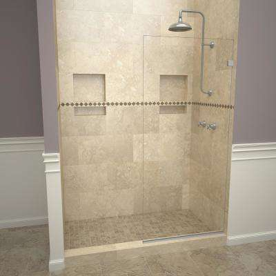 2000V Series 24 in. W x 76 in. H Semi-Frameless Fixed Shower Door in Brushed Nickel without handle