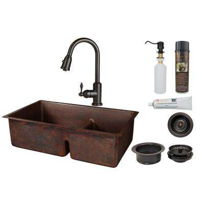 All-in-One Undermount Copper 33 in. 0-Hole 60/40 Double Bowl Short Divide Kitchen Sink with Faucet in Oil Rubbed Bronze