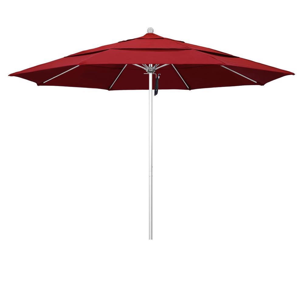 11 ft. Market Silver Anodized Fiberglass PO DVent Patio Umbrella in Red Olefin