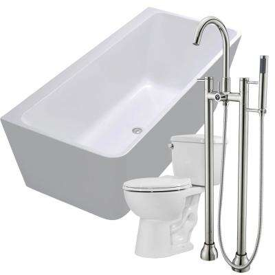 Strait 67 in. Acrylic Flatbottom Non-Whirlpool Bathtub in White with Sol Faucet and Cavalier 1.28 GPF Toilet