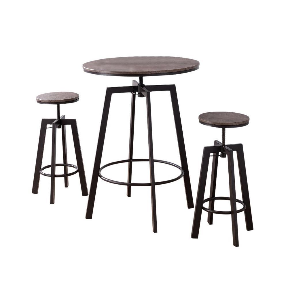 Jacee 3-Piece Black and Wood Adjustable Height Pub Set