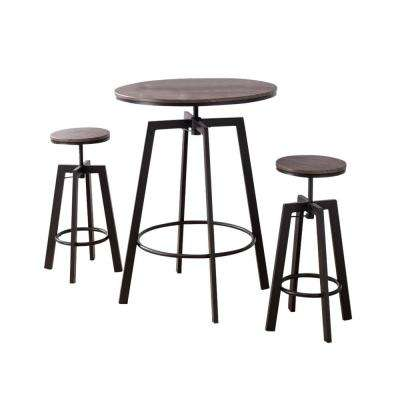 Jacee 3-Piece Black and Wood Adjustable Height Pub Set