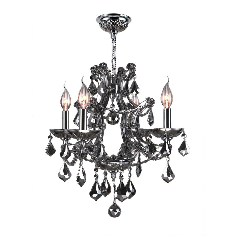 Worldwide Lighting Lyre Collection 4-Light Chrome Crystal Chandelier