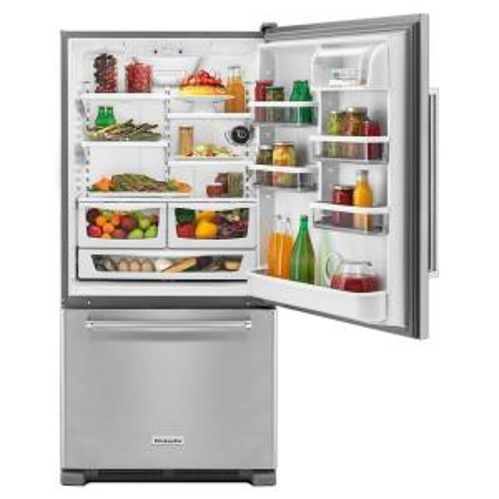 kitchenaid 22 cu ft bottom freezer refrigerator in stainless steel rh homedepot com