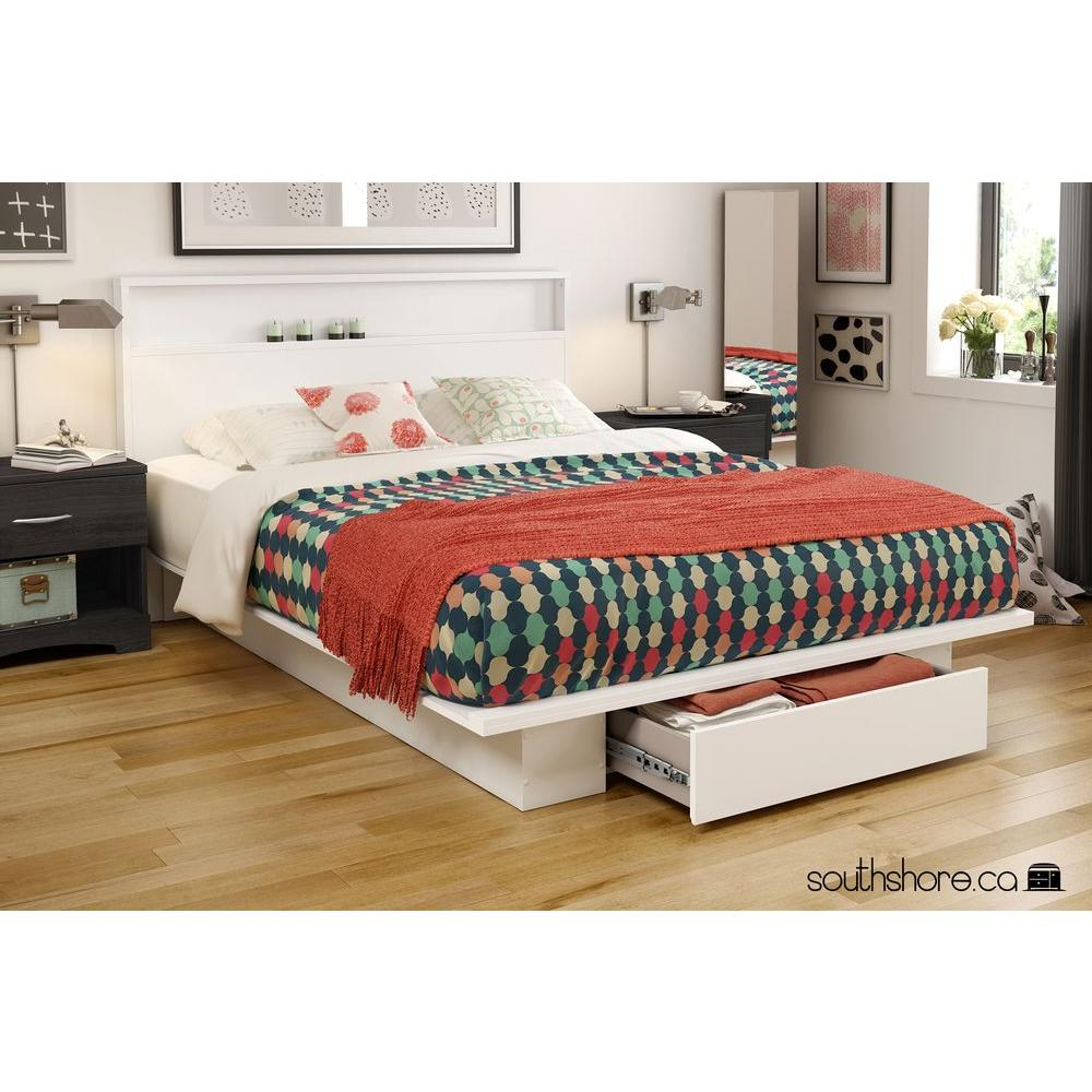 South S Holland 1 Drawer Full Queen Size Platform Bed In Pure White