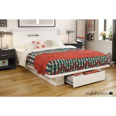 Holland 1-Drawer Full/Queen-Size Platform Bed in Pure White