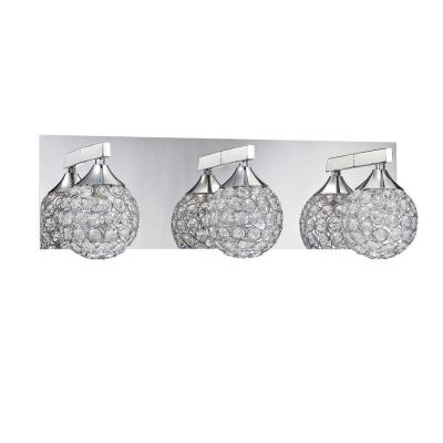 CRYS Series 3-Light Chrome Bath Light