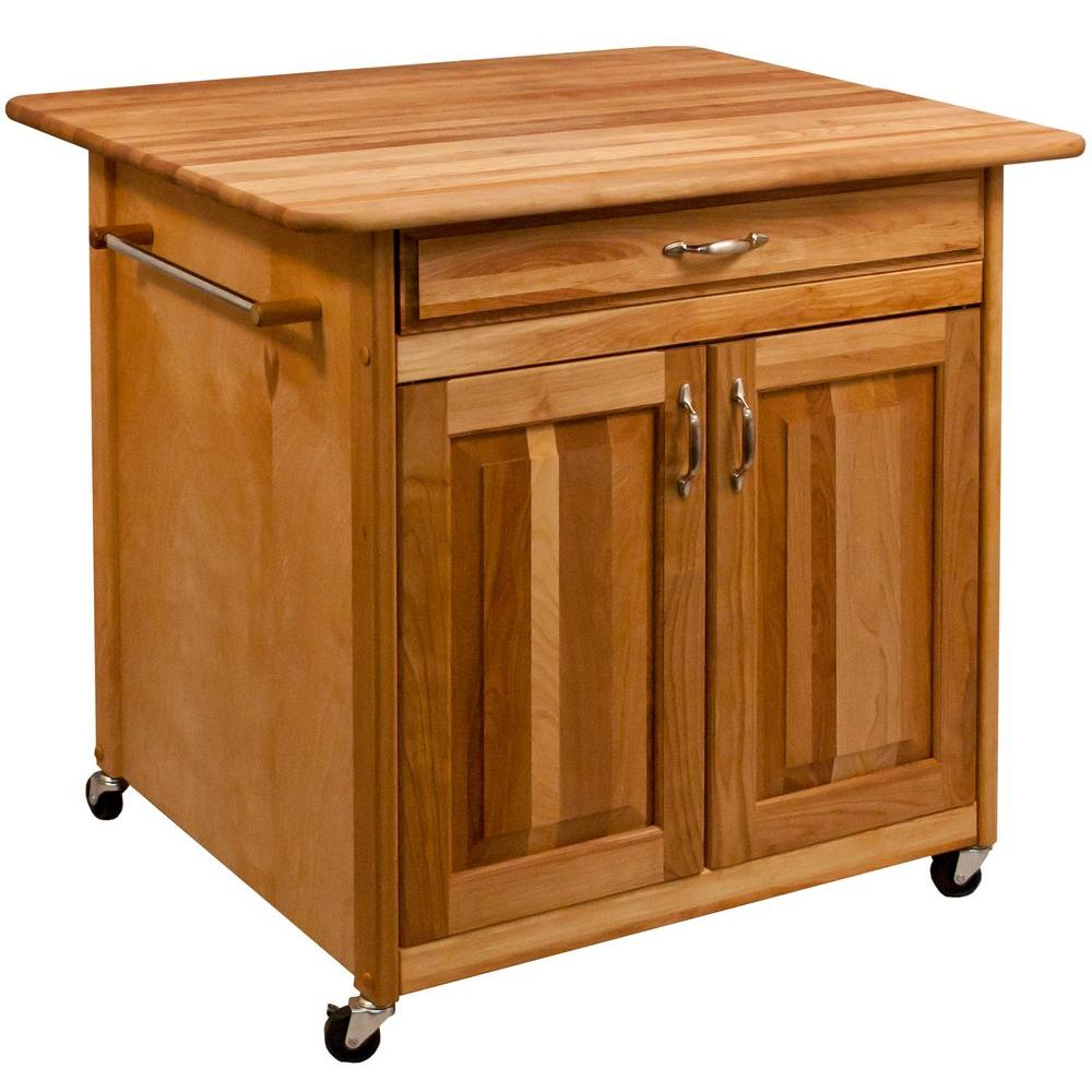 Catskill Craftsmen Natural Wood Kitchen Cart with Storage