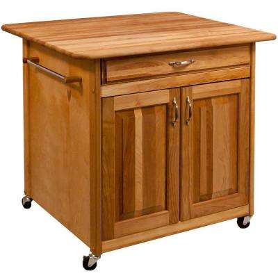 Catskill Natural Kitchen Cart With Storage