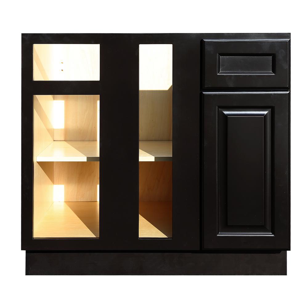 La. Newport Assembled 36x34.5x24 in. Base Blind Corner Cabinet in Dark Espresso