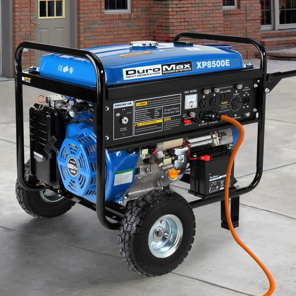 7000-Watt Gasoline Powered Electric Start Portable Generator with Wheel Kit