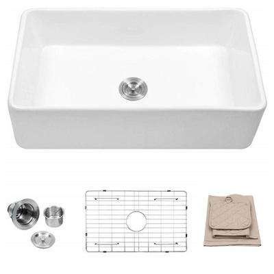 33 in. White Porcelain Ceramic Fireclay Single Bowl Farmhouse Apron Front  Sink