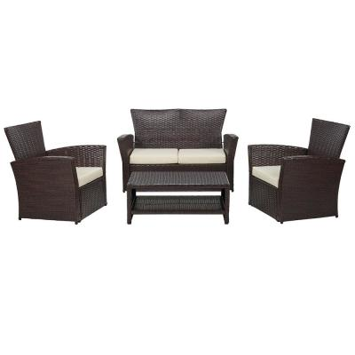 Classic Brown 4-Piece Wicker Patio Conversation Set with Beige Cushions