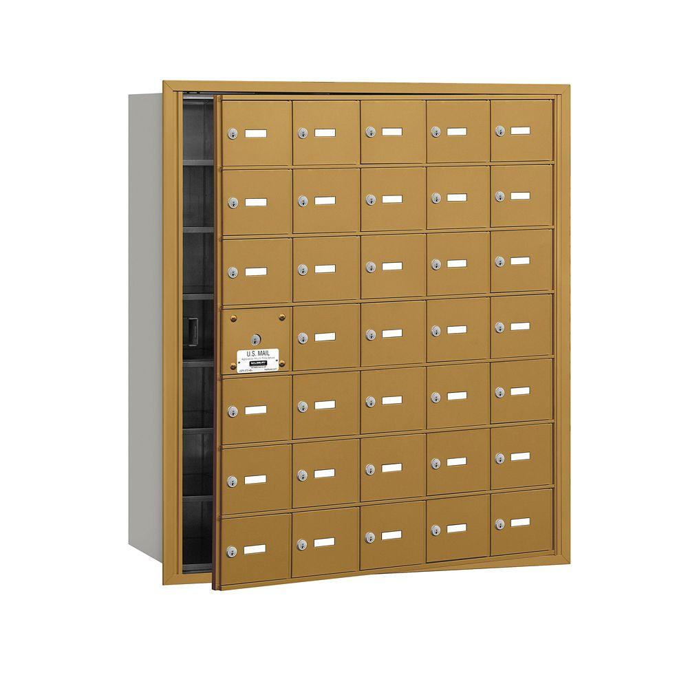 Salsbury Industries 3600 Series Gold Private Front Loading 4B Plus Horizontal Mailbox with 35A Doors (34 Usable)