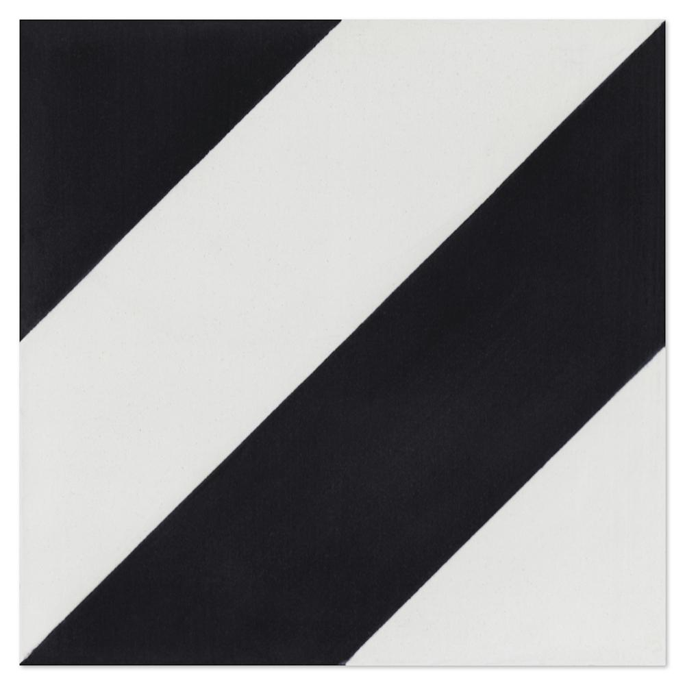 Diagonal Four-A-Black and White 7-7/8 in. x 7-7/8 in. Cement Handmade