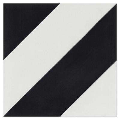 Diagonal Four-A-Black and White 7-7/8 in. x 7-7/8 in. Cement Handmade Floor and Wall Tile