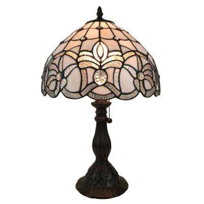 19 in. Multicolored Tiffany Style Floral Design Table Lamp