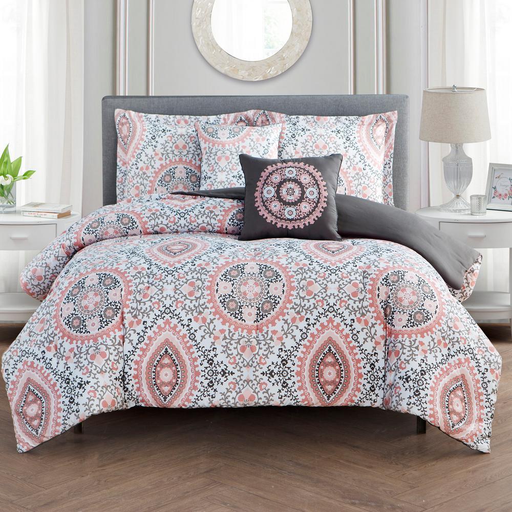 Juliana 5-Piece Blush King Comforter Set by