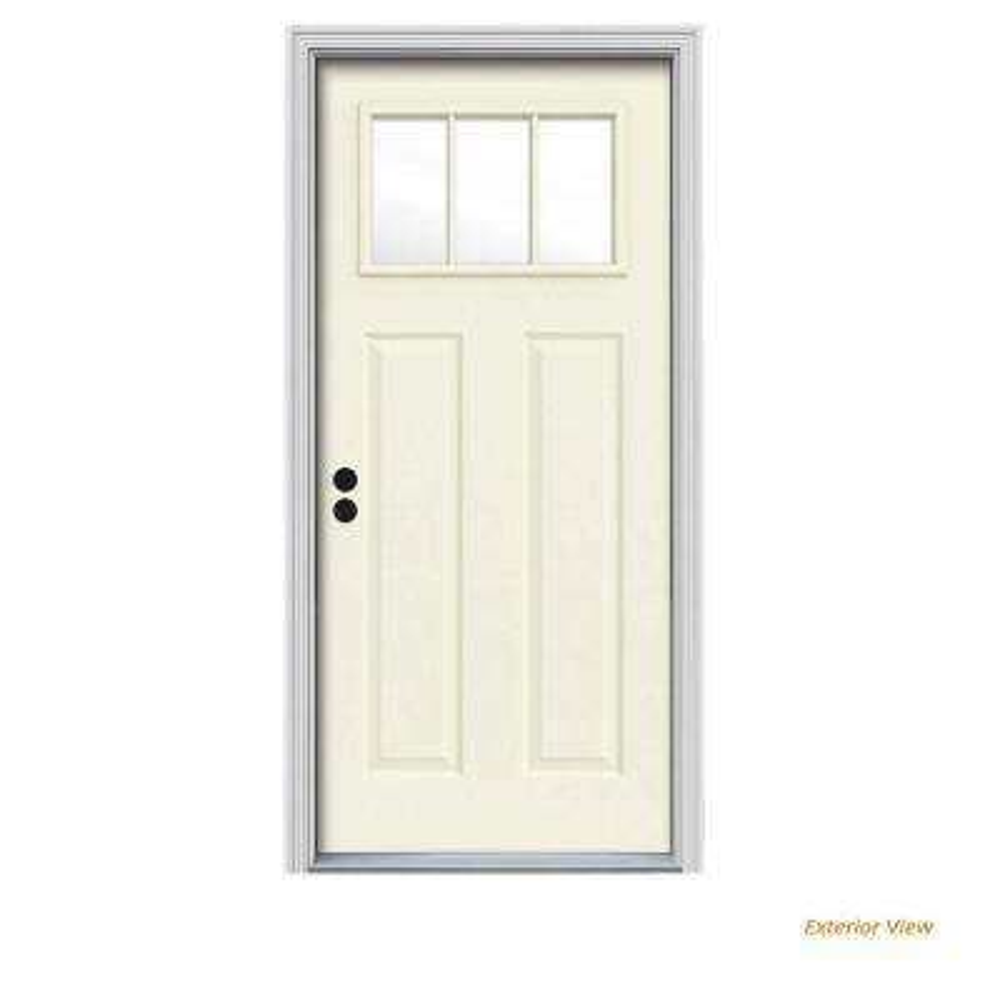 34 in. x 80 in. 3 Lite Craftsman Vanilla Painted Steel Prehung Right-Hand Inswing Front Door w/Brickmould