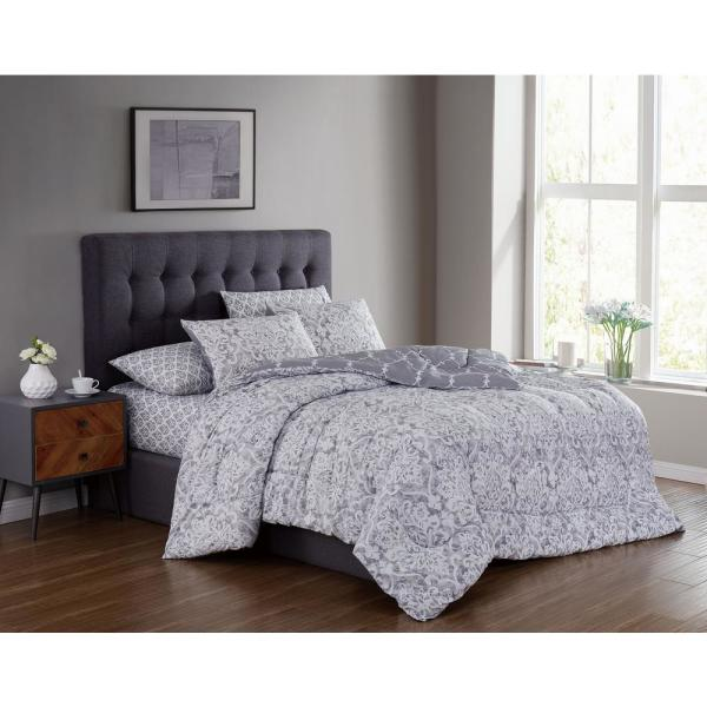 Addison House Edessa 7-Piece Gray Queen Bed in a Bag EDS7BBQUENGHGY