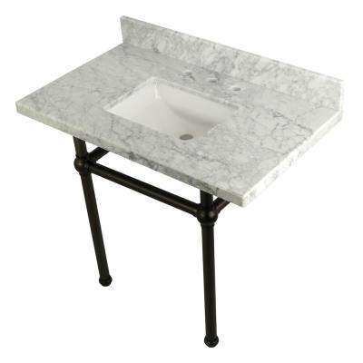 Square-Sink Washstand 36 in. Console Table in Carrara with Metal Legs in Oil Rubbed Bronze