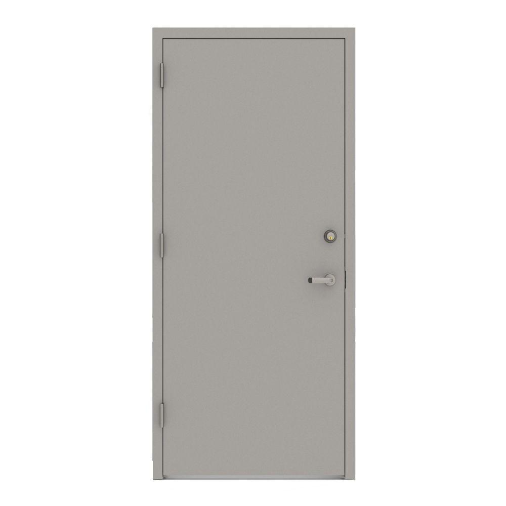 32 in. x 80 in. Gray Flush Right-Hand Security Steel Prehung