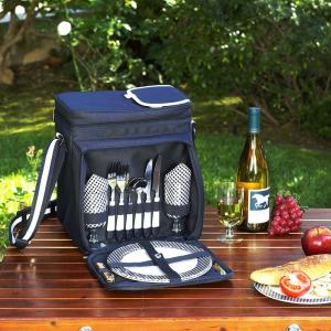Picnic Basket and Cooler Equipped for 2 in Navy by