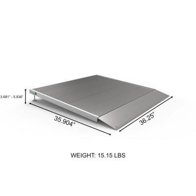 TRANSITIONS Aluminum Threshold Ramp with Adjustable Height 36 in. L x 36 in. W