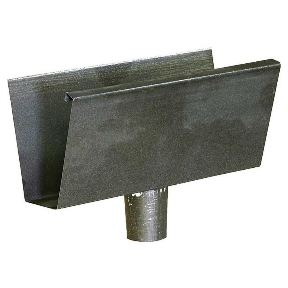Construction Metals 4 in  Bonderized Steel Fascia Gutter End Piece with  Round Drop