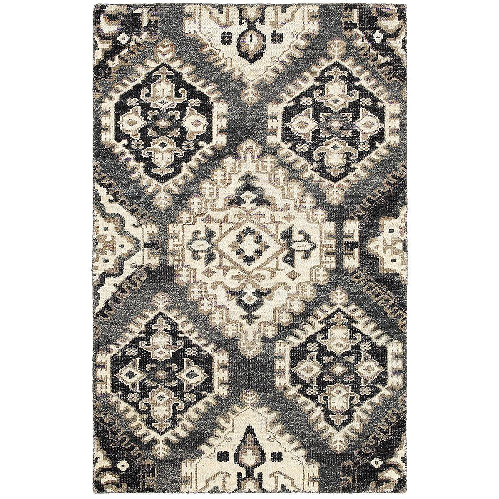 LR Resources Nisha Gray 9 ft. x 12 ft. Hand Knotted Indoor Area Rug