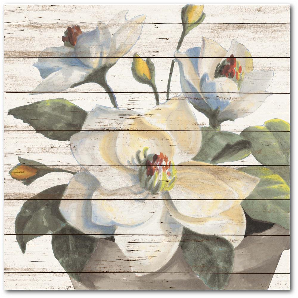 Courtside Market White Delicates on Wood 24 in. x 24 in. Gallery-Wrapped Canvas Wall Art, Multi Color was $115.0 now $64.03 (44.0% off)
