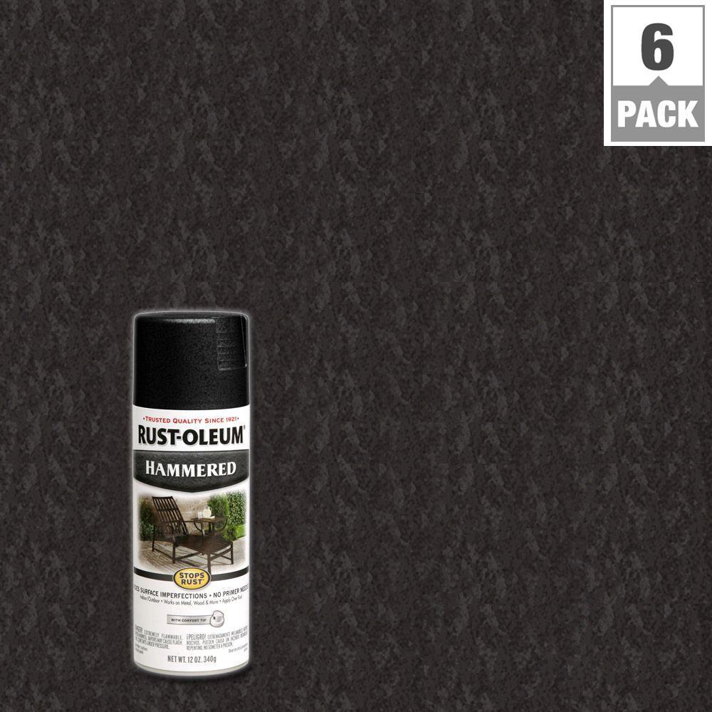Rust-Oleum Stops Rust 12 oz. Protective Enamel Hammered Black Spray Paint (6-Pack)
