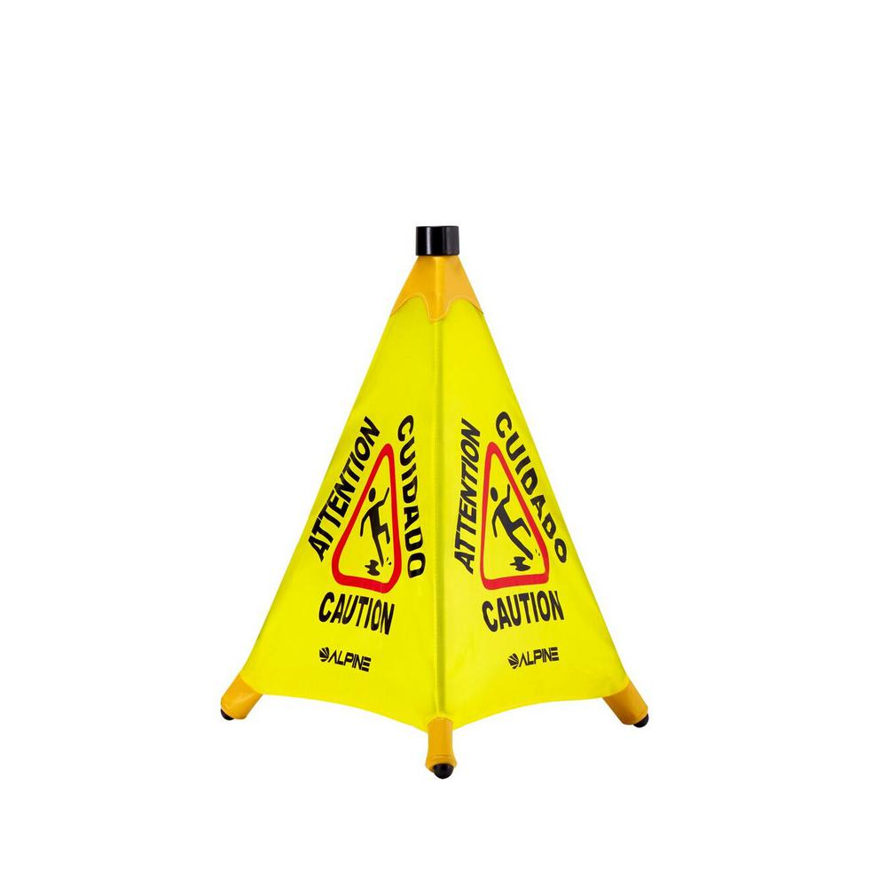 20 in. Yellow Multi-Lingual Pop-Up Wet Floor Sign