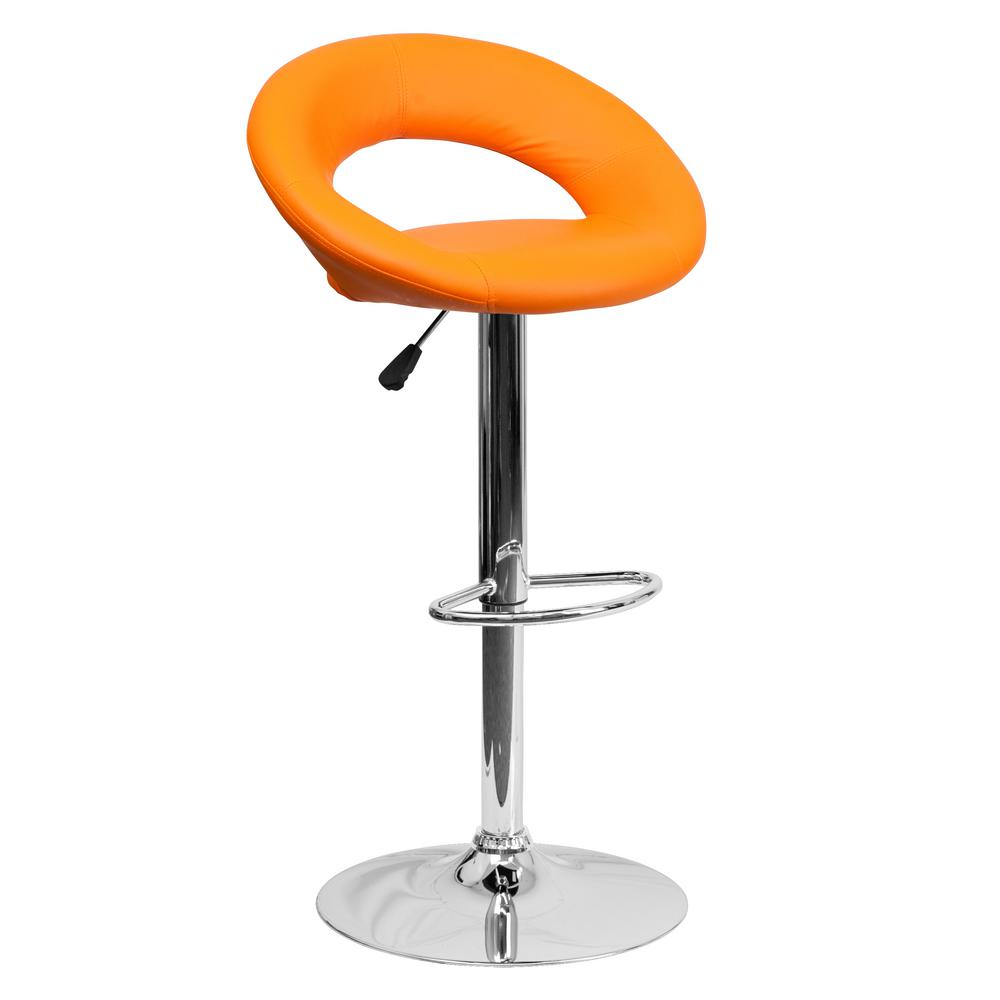 32.75 in. Adjustable Height Orange Cushioned Bar Stool